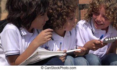 School Kids Laughing And Having Fun