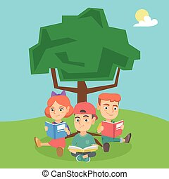 School kids reading books under a tree on nature.