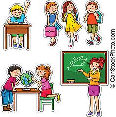 school kids - set of children and teacher at school