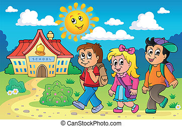 School kids theme image 4 - eps10 vector illustration.