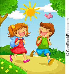 school kids - two children going to school