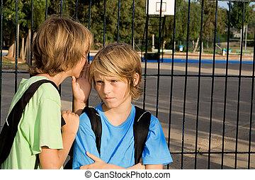 school kids whispering problems