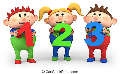 cute little cartoon kids with 123 numbers - high quality 3d illustration