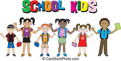 School Kids with Backpacks & Lunchboxes - Kids with Text