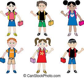 School Kids with Backpacks