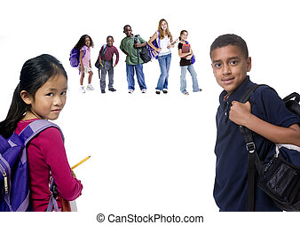School Kids - Young kids are ready for school. Education, ...