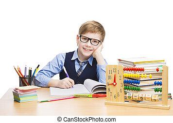school, kind, scholieren, opleiding, pupil, jongen, in, bril, leren