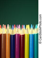 school, kleurig potloden, met, extreem, diepte van gebied