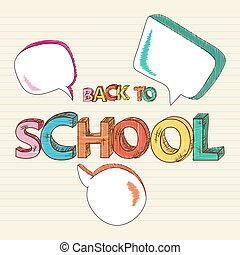 school, kleurrijke, media, sociaal, back, bubbles., tekst