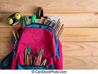 school, klok, houten, schooltas, toebehoren, tafel.