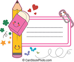 School Label Sticker - Cute back to school name tag label...