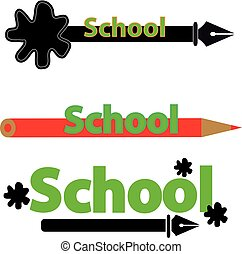 School label with pen and crayon