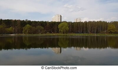 school lake in Zelenograd administrative district of Moscow,...