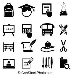 School, learning and education icons - Back to school,...