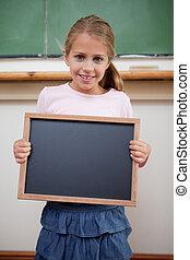 school, lei, jonge, vasthouden, verticaal, meisje