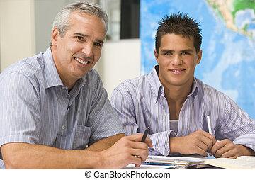 school, leraar, tee, spaans, hoog, het glimlachen, student,...