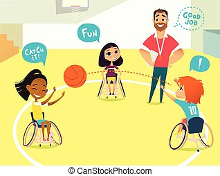 School lesson. Handicapped Kids. Boys and girls in wheelchairs playing baseball in a gum. Coaching handicapped young sportsmen's. Medical rehabilitation. Vector Illustration.