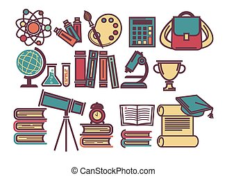School lessons items and sicence education supplies vector...