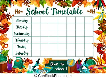 School lessons timetable schedule vector template