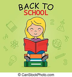 school, lezende , card., meisje, back