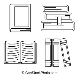 School library books icon set, outline style