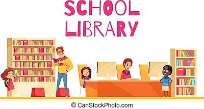 School Library Cartoon Illustration