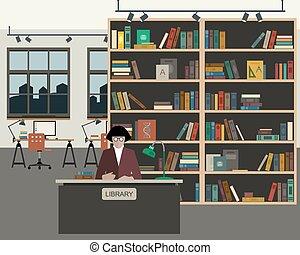 School library flat illustration.