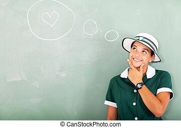 school, liefde, denken, over, hoog, meisje
