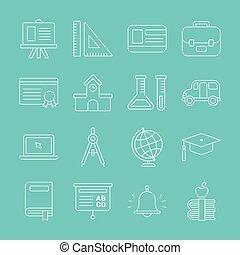 School line icon set