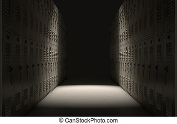 School Locker Corridor - A direct top view of a row of...