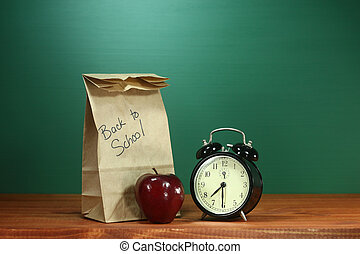 School Lunch, Apple and Clock on Desk at School - Back to...