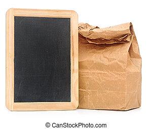 school lunch bag with blank blackboard on white