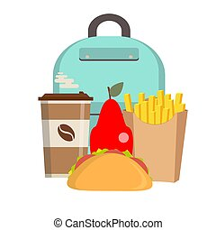 School lunch box. Children's lunch bag with sandwich, fruit and other food. Kids school lunches icons in flat style.