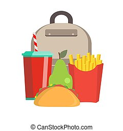 School lunch box. Children's lunch bag with sandwich, soda, fruit and other food. Kids school lunches icons in flat style.