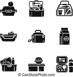 School lunch box icon set, simple style