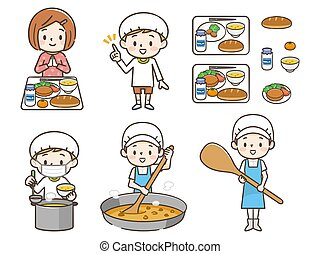 School lunch, cook, children illustration set