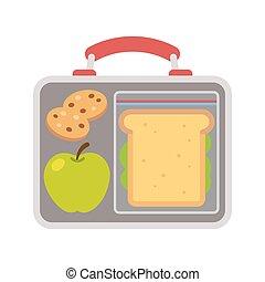 School lunch food - Lunchbox with school lunch: apple,...