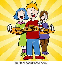 School Lunch Program - An image of school children holding...