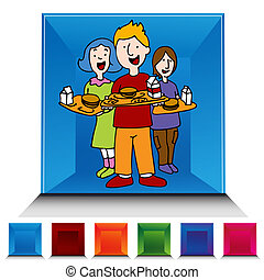 School Lunch Program Gemstone Button Set - An image of a...