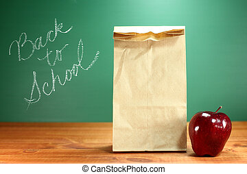 School Lunch Sack Sitting on Teacher Desk - Back to School...