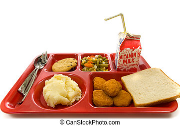 School Lunch Tray - School lunch tray on white background