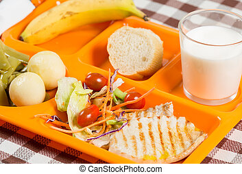 Tray of food in a school canteen