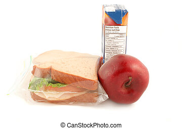 school lunch - whole wheat sandwich, apple and juice (a ...