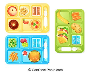 School lunches - Healthy and tasty school lunch trays