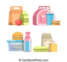 School lunches in containers with healthy and harmful food -...