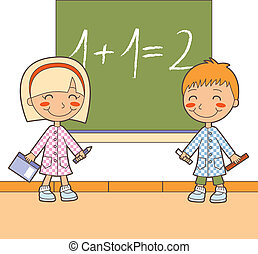 School Math Class - Boy and girl at classroom studying maths...