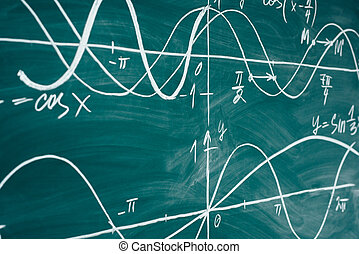 School math lesson. Trigonometry. Chalkboard Function...