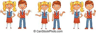 school., meninas, costas, junto, meninos posando