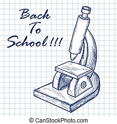 School microscope. Doodle sketch on checkered paper ...