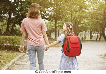 school, moeder, handen, gaan, holdingskind